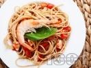 Рецепта Пълнозърнести спагети със скариди